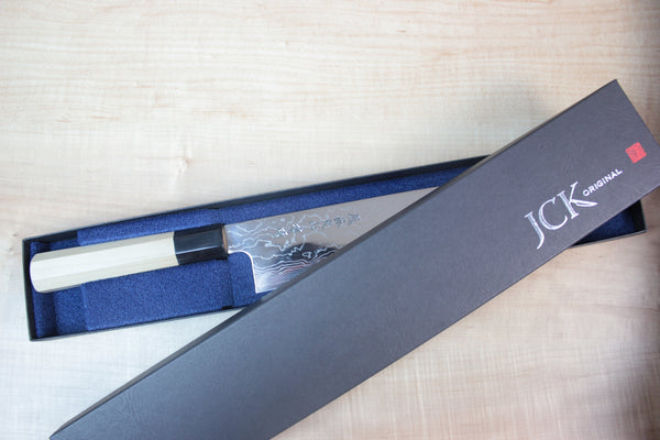 Fu-Rin-Ka-Zan R-2 Damascus Wa Series Wa Sujihiki (240mm and 270mm, 2 sizes) Octagon Shaped Magnolia Wooden Handle - JapaneseChefsKnife.Com