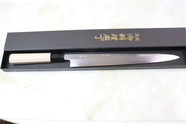 Fu-Rin-Ka-Zan Limited, Blue Steel No.2 Suminagashi Yanagiba (270mm and Yanagiba 300mm, 2 Sizes) - JapaneseChefsKnife.Com