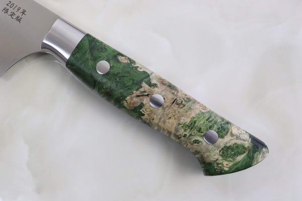 Hattori Forums Custom Limited Edition Year 2019, FH Series Gyuto 240mm (9.4 Inch, Green Color, Stabilized Box Elder Wood Handle FH-7SP38) - JapaneseChefsKnife.Com