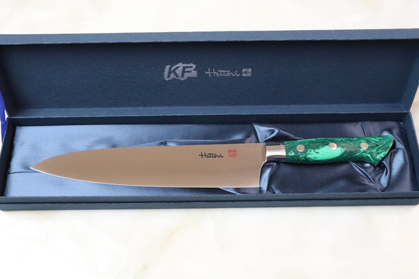 Hattori Forums Custom Limited Edition Year 2020, FH Series FH-6SP2020G Gyuto 210mm (8.2 Inch, Green Malachite Gem Stone Handle) - JapaneseChefsKnife.Com