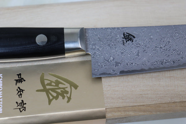 Hattori 傘 SAN Series Limited Edition, KD Series Cowry X  Damascus Petty 135mm (5.3 inch, SAN-KD-1) - JapaneseChefsKnife.Com