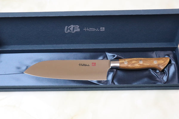 Hattori Forums FH Series FH-4O Santoku 170mm (6.6 Inch, Olive Wood Handle) - JapaneseChefsKnife.Com
