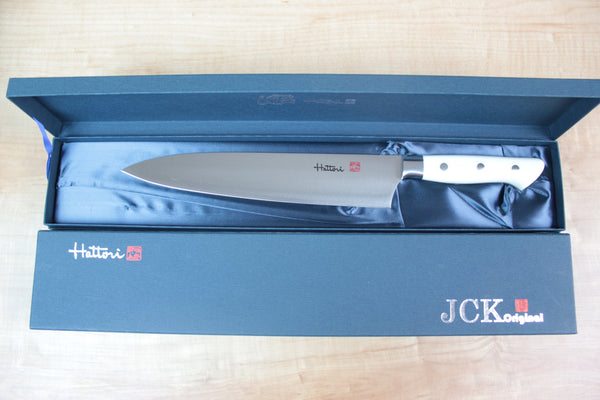 Hattori Forums FH Series FH-4W Santoku 170mm (6.6inch, Fresh White Corian Handle) - JapaneseChefsKnife.Com