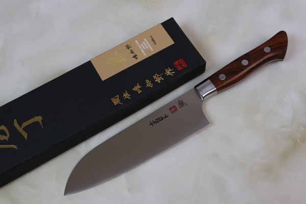 Hattori 傘 SAN Series Limited Edition FH Series SAN-2 Santoku 170mm  (6.6 inch, Desert Ironwood Handle) - JapaneseChefsKnife.Com
