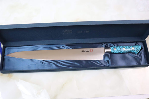 Hattori Sujihiki Hattori Forums Custom Limited Edition Year 2020, FH Series FH-14SP2020T Sujihiki 300mm (11.8 Inch, Turquoise Gem Stone Handle)