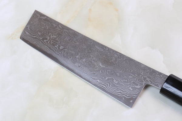 Hinoura Custom Knife ATS-34 Damascus Nakiri 165mm (6.4 inch, TH-10) - JapaneseChefsKnife.Com