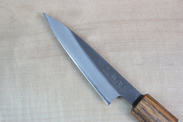 Hinoura Limited, MHSP-155 White Steel No.1 Kurouchi Series Wa Paring 80mm (3.1 inch,  Octagon Shaped Bocote Wood & Walnut Wood Handle with nice accent of White Spacer) - JapaneseChefsKnife.Com