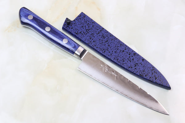 JCK Natures Blue Clouds Series BCD-1 VG-10 Tsuchime Damascus Petty 135mm (5.3 inch) - JapaneseChefsKnife.Com