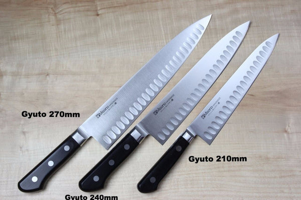 Misono Molybdenum Steel with Dimples Series Gyuto (180mm to 300mm, 5 sizes) - JapaneseChefsKnife.Com