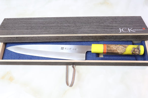 "Custom Limited Edition, Mizuno Tanrenjo Akitada ""Special Custom Order White Steel No.2 Clad Wa Gyuto 240mm (9.4 inch, MCL-35) - JapaneseChefsKnife.Com"