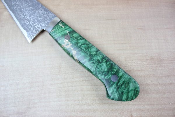 Mr. Itou R-2 Custom Damascus Honesuki 155mm (6.1 inch, Green Color Stabilized Maple Burl Wood Handle, IT-585) - JapaneseChefsKnife.Com