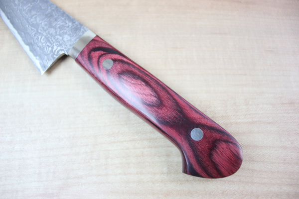 Mr. Itou Boning Knife | Honesuki Mr. Itou R-2 Custom Damascus Honesuki 155mm (6.1 inch, Red Pakka Wood Handle, IT-582)