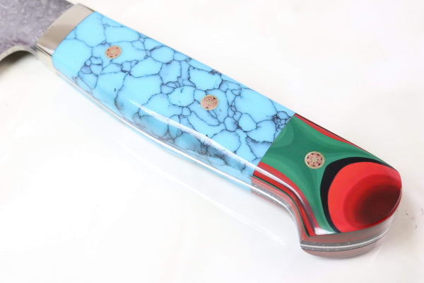 "Mr. Itou Gyuto IT-750 Gyuto 180mm(7 inch) Mr. Itou R-2 Custom Damascus Gyuto 180mm (7 Inch) ""Custom Combination Handle(Turquoise/Japanese Lacquer)"" (IT-750)"