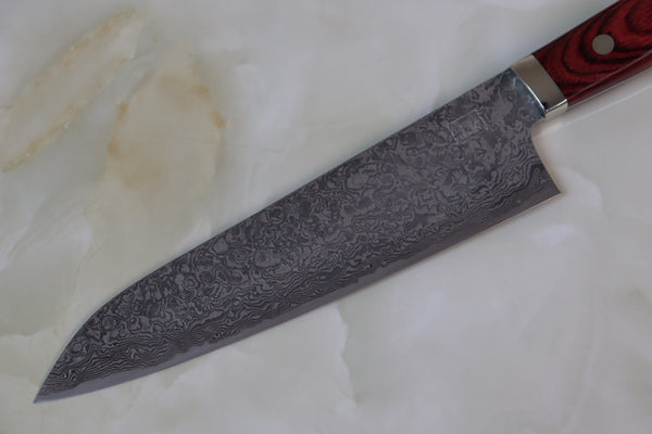 Mr. Itou R-2 Custom Damascus Gyuto 180mm (7 inch, Red Pakka Wood Handle,  IT-613) - JapaneseChefsKnife.Com