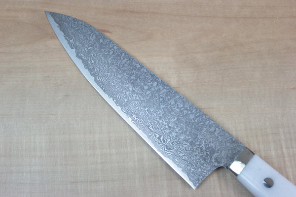 "Mr. Itou R-2 Custom Damascus Gyuto 180mm (7 inch) ""White Corian Handle"" Type 3 (IT-344) - JapaneseChefsKnife.Com"