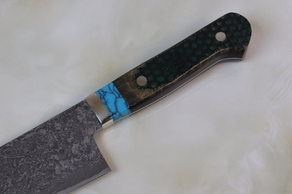 "Mr. Itou R-2 Custom Damascus Gyuto 240mm (9.4 inch) ""Custom Combination Handle (Turquoise/Green Allmadillo)(IT-637) - JapaneseChefsKnife.Com"