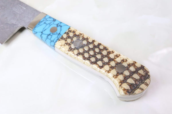 "Mr. Itou Gyuto IT-745 Gyuto 240mm(9.4 inch) Mr. Itou R-2 Custom Damascus Gyuto 240mm (9.4 Inch) ""Custom Combination Handle (Turuqoise/Armadillo)"" (IT-745)"