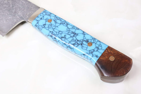 "Mr. Itou Gyuto IT-744 Gyuto 265mm(10.4 inch) Mr. Itou R-2 Custom Damascus Gyuto 265mm (10.4 Inch) ""Custom Combination Handle (Turuqoise/Ironwood)"" (IT-744)"