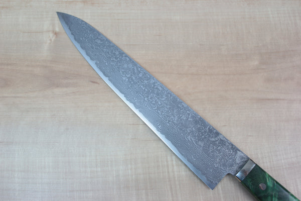 "Mr. Itou R-2 Custom Damascus Gyuto 270mm (10.6 inch) ""Green Color Stabilized Maple Burl Wood Handle"" (IT-305) - JapaneseChefsKnife.Com"