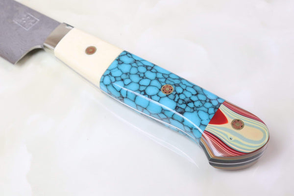 "Mr. Itou Gyuto Mr. Itou R-2 Custom Damascus Small-Gyuto 130mm (5.1 inch) ""Custom Combination Handle(Mammoth Tusk Ivory, Abalone, Japanese Lacquer)"" (IT-696)"