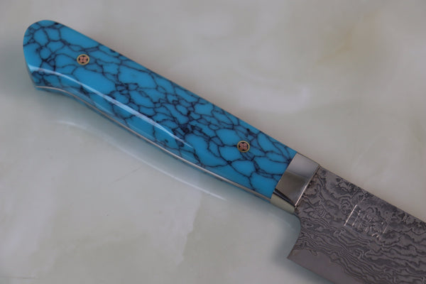 "Mr. Itou R-2 Custom Damascus Petty 125mm (4.9 inch) ""Turquoise Handle"" (IT-595) - JapaneseChefsKnife.Com"