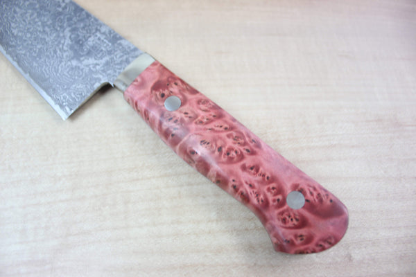 Mr. Itou R-2 Custom Damascus Santoku 170mm (6.6 inch, Red Stabilized Maple Burl Wood Handle, IT-557) - JapaneseChefsKnife.Com