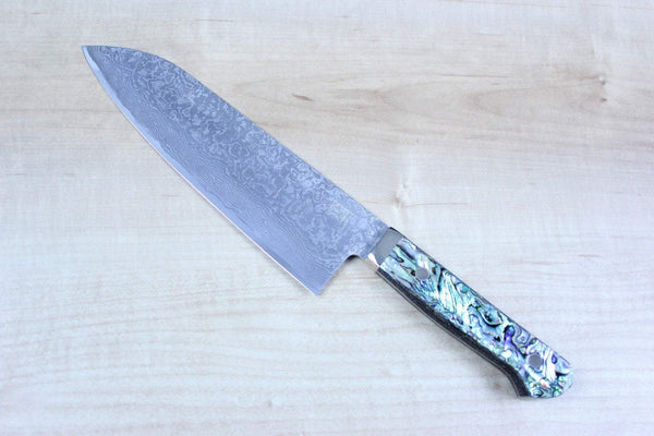 Mr. Itou R-2 Custom Damascus Santoku 175mm (6.8 inch, Abalone Handle, IT-555) - JapaneseChefsKnife.Com