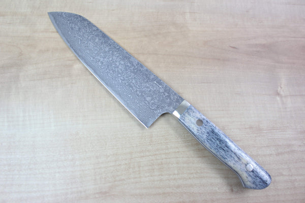 Mr. Itou Santoku IT-559 Santoku 175mm (6.8 inch) Mr. Itou R-2 Custom Damascus Santoku 175mm (6.8 inch, Grey Color Camel Bone Handle, IT-559)