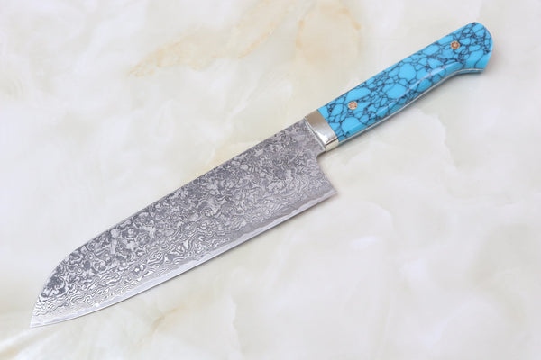 Mr. Itou R-2 Custom Damascus Santoku 175mm (6.8 inch, Turquoise Handle, IT-651) - JapaneseChefsKnife.Com