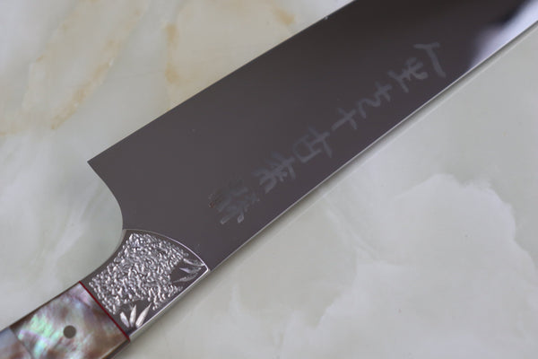 Koji Hara 古希 70 Years Anniversary Custom Limited Edition KH-70B Gyuto 210mm (8.2 Inch)  (Black Mother of Pearl Handle) - JapaneseChefsKnife.Com