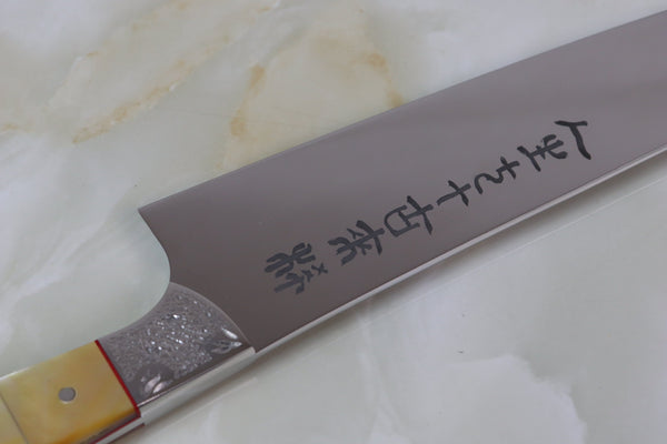 Koji Hara 古希 70 Years Anniversary Custom Limited Edition KH-70G Gyuto 210mm (8.2 Inch)  (Gold Mother of Pearl Handle) - JapaneseChefsKnife.Com