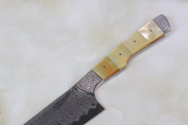 Koji Hara Custom Limited Edition KH-240 Gyuto 210mm (8.2 Inch, Bamboo Design Gold Mother Of Pearl Handle) - JapaneseChefsKnife.Com