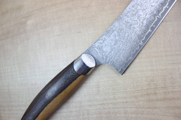 Master Saito Custom AUS-10 Black Damascus Petty 190mm (7.4 inch, Ziricote Wood Handle) (SA-36) - JapaneseChefsKnife.Com