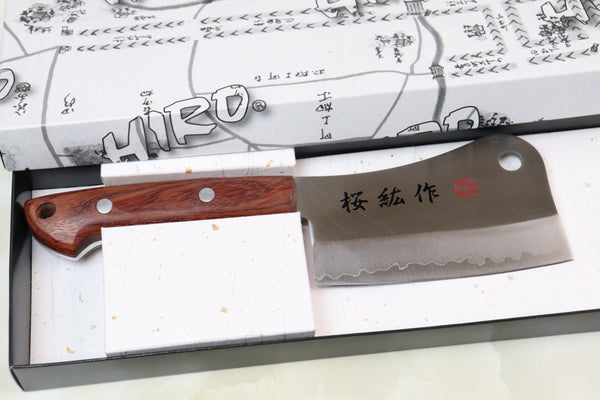 HIRO (SHIKI) Chopper HCP-2 110mm (4.3inch, 440C Clad Blade, Bubinga Wood Handle) - JapaneseChefsKnife.Com