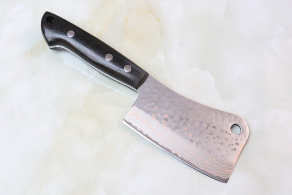 Shiki Chinese Cleaver SHIKI (Hiro Knives) Custom Limited Edition Sakura-Rainbow Damascus Chopper 110 mm (African Black Wood Handle)