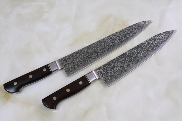 Shiki 黒龍 Black Dragon R-2 Damascus Series Gyuto (210mm to 240mm, 2 Sizes, Ironwood Handle) - JapaneseChefsKnife.Com