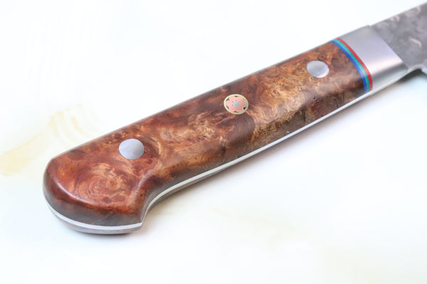 SHIKI New World Series VG-10 Hammered Damascus STD-8 Gyuto 185mm (7.2 inch, Quince Burl Wood Handle) - JapaneseChefsKnife.Com