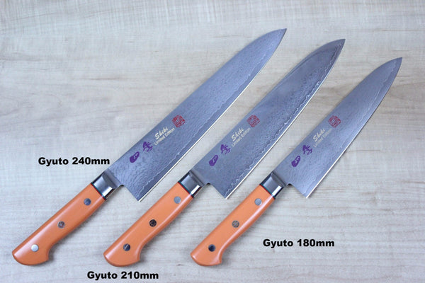Shiki Gyuto SDO-5 Gyuto 210mm (8.2inch) SHIKI 色彩 Shikisai Series Gyuto (180mm to 240mm, 3 sizes, Fresh Orange Corian Handle)