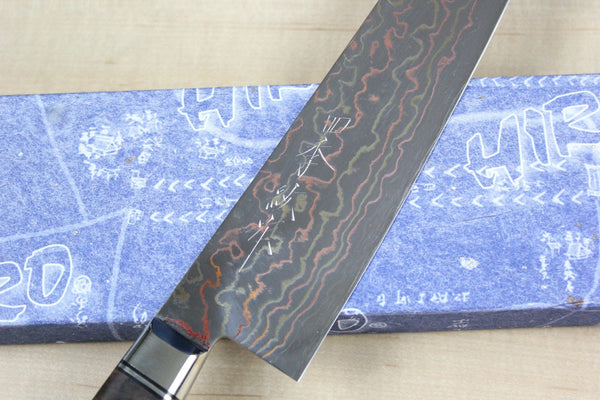 Shiki Special Collection, Rainbow Damascus Gyuto 210mm (8.2 inch, Walnut Burl Wood Handle) - JapaneseChefsKnife.Com