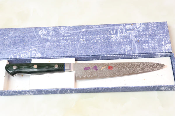 SHIKI 守護神 Guardian Series SKG-2 Petty 150mm (5.9 inch, Green Linen Micarta Handle) - JapaneseChefsKnife.Com