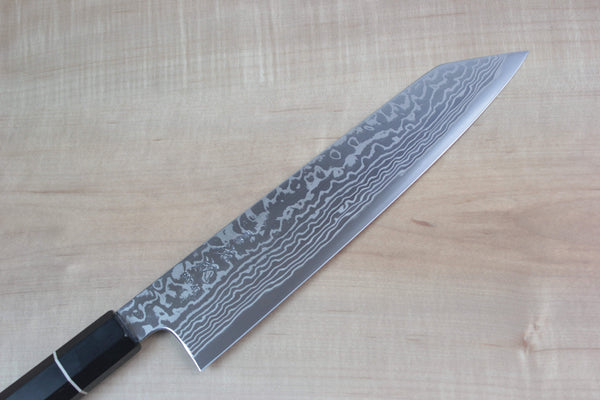 Sukenari HAP-40 Nickel Damascus Kiritsuke (210mm to 270mm, 3 sizes, Octagon Shaped Ebonywood Handle with White Spacer) - JapaneseChefsKnife.Com