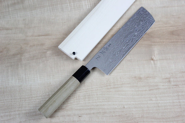 Sukenari Gingami No.3 Nickel Damascus Nakiri 175mm (6.8 inch) - JapaneseChefsKnife.Com