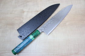 Custom Limited Edition, Sukenari HAP-40 Nickel Damascus Wa Gyuto 210mm (8.2 inch, SCL-31) - JapaneseChefsKnife.Com