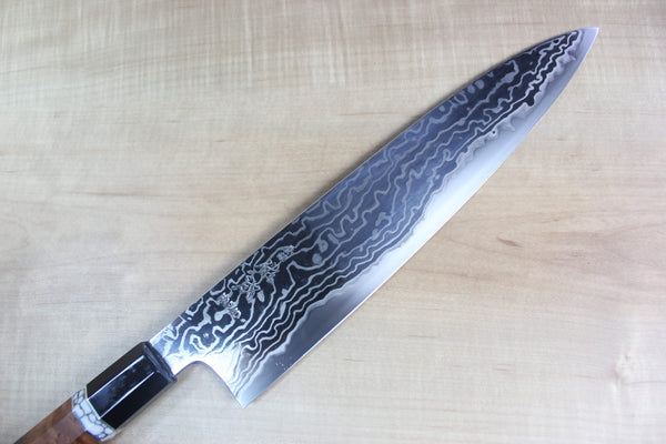 Custom Limited Edition, Sukenari HAP-40 Nickel Damascus Wa Gyuto 270mm (10.6 inch, SCL-39) - JapaneseChefsKnife.Com
