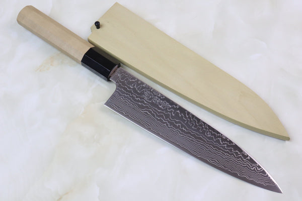 Sukenari R-2 Damascus Wa Series Wa Gyuto 210mm (8.2 inch, Higher Grade Octagon Shaped Magnolia Wooden Handle, SRD-1HM) - JapaneseChefsKnife.Com