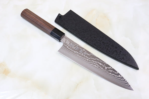 Sukenari ZDP-189 Nickel Damascus SZ189-1 Wa Gyuto 210mm (8.2 inch, Octagon Shaped Red-Sandal Wood Handle) - JapaneseChefsKnife.Com
