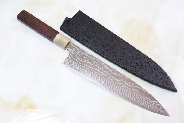 Sukenari ZDP-189 Nickel Damascus SZ189-2 Wa Gyuto 240mm (9.4 inch, Octagon Shaped Red-Sandal Wood Handle) - JapaneseChefsKnife.Com