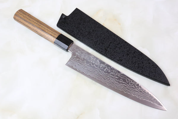 Sukenari Wa Gyuto SZDP189-1B Wa Gyuto 210mm Sukenari ZDP-189 Nickel Damascus Wa Gyuto (210mm to 270mm, 3 sizes, Octagon Shaped Bocote Wood Handle)
