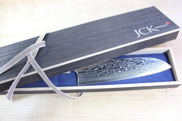 Custom Limited Edition, Sukenari HAP-40 Nickel Damascus Wa Santoku 190mm (7.4 inch, SCL-24) - JapaneseChefsKnife.Com