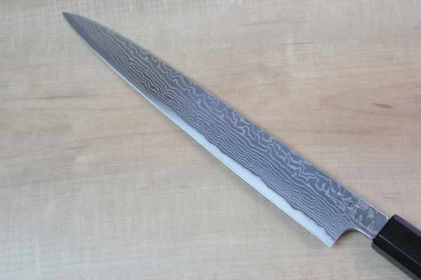 Sukenari HAP-40 Nickel Damascus Wa Sujihiki (240mm and 270mm, 2 sizes, Octagon Shaped Ebonywood Handle with White Spacer) - JapaneseChefsKnife.Com